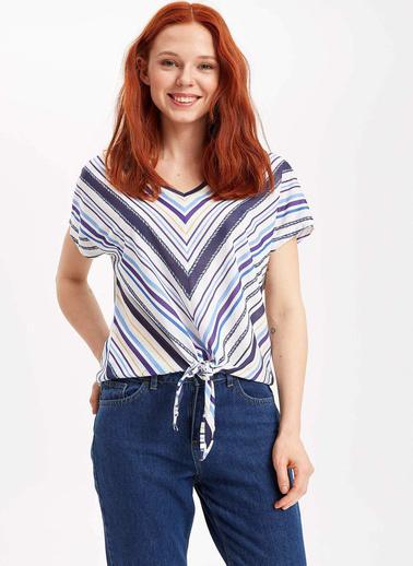 DeFacto Etek Ucu Bağlama Detaylı T-shirt Mavi